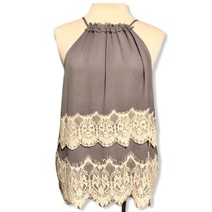 Ann Taylor Lavender and Lace Tank Top Small Pet